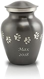OneWorld Memorials Paw Prints Brass Paw Cremation Urn - Extra Small Grey - Custom Engraving Included