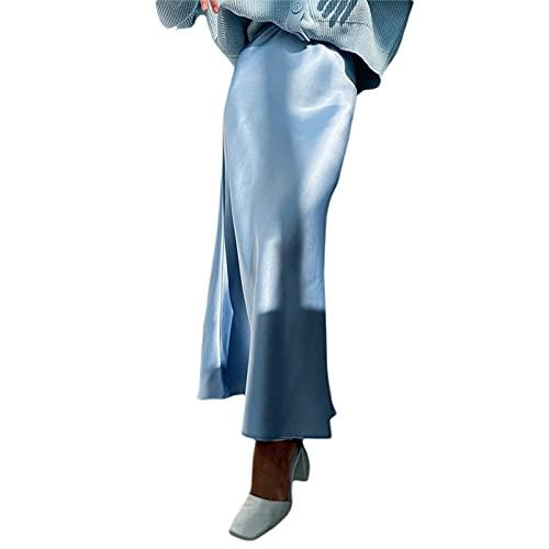 Geagodelia Falda larga para mujer, de satén, elegante falda de campana de color liso A-Line con cintura alta, azul claro, S