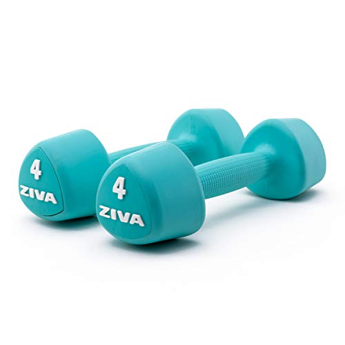 ZIVA Virgin Rubber Steel Tribell Dumbbell Pairs - Odorless, Ergonomic Non-Slip Comfort Grip - Exercise Weights for Core and Strength Training - 4lbs Pairs, Turquoise