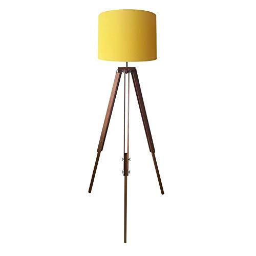 Luminária Chão Tripé Madeira Cúpula Tecido 40x30, Vivare Iluminação, Luminária Chão2018 AM-13, Amarelo, Grande