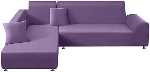 Mazu Home - Juego de sofá con 2 almohadas navideñas, diseño de fibra de poliéster en forma de L, 3 asientos + 3 asientos (gris claro)
