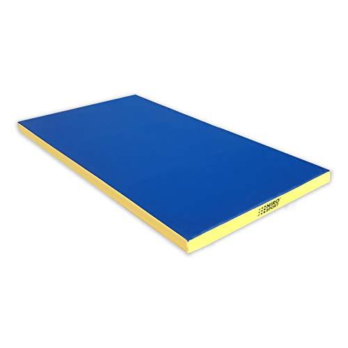 NiroSport Turnmatte 200 x 100 x 8 cm Gymnastikmatte Fitnessmatte Sportmatte Trainingsmatte Weichbodenmatte wasserdicht (Blau/Gelb)