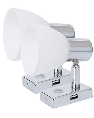 lighteu, 2X 12V 3W D1 USB Decken- / Wandstrahler, Chrom-Finish, Nachttischlampe, Leselampe mit Touch-Schalter dimmbar warmweiß/blaues Licht für Yacht, Caravan, Wohnmobil