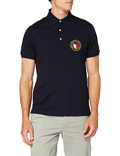 Tommy Hilfiger Crest Chest Slim Polo Camicia, Blue, X-Small Uomo
