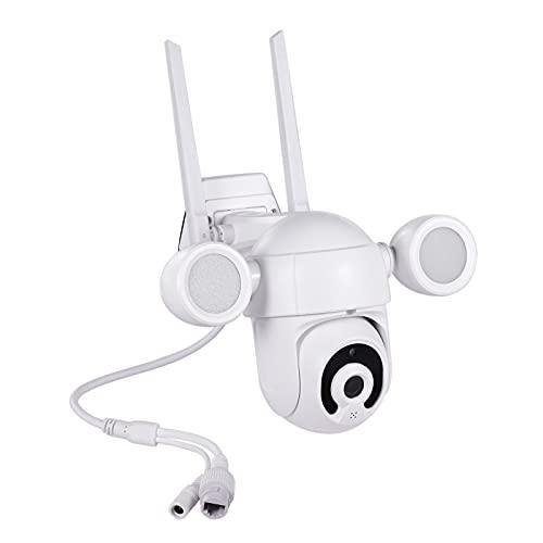 KKmoon 3MP Cámara WiFi para Exteriores IP66 Impermeable PTZ Visión Nocturna Automática Luces Activadas por Movimiento Compatible con Tuya/Smart Life Lluminación de Reflector para Exteriores