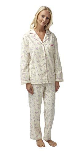 Damen Schlafanzug, 100 % gebürstete Baumwolle, kuschelig, für den Winter Gr. 36/38 DE, rose