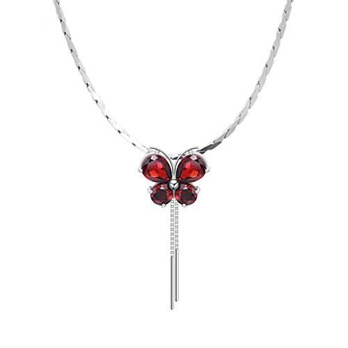 OMING Collares Mariposa de la Cadena Collar de Granate Pendiente de Las Mujeres de la Mariposa Collar de clavícula, Regalos for Las Mujeres Madre de cumpleaños Colgantes de Mujer