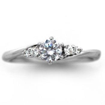 婚約指輪 ケース付 ダイヤモンド プラチナ 0.4カラット 鑑定書付 0.409ct Eカラー VS1クラス 3EXカット H&C CGL サイズ4号