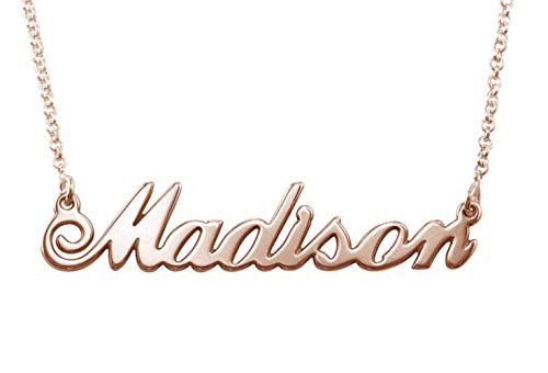 MyNameNecklace Personalized Classic Name Necklace -Custom Made Nameplate Pendant Christmas Jewelry Gift for Women(14, Rose Gold Plated Sterling Silver)
