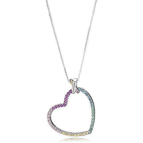 Pandora Woman's Silver Multicolor Heart Pendant