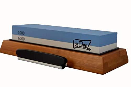 LaDenZ Sharpening Stone - Combination 1000/6000 Grit Whetstone - Premium Knife Sharpener Kit - Water Stone Sharpener & Polishing Tool with Anti Slip Bamboo & Silicone Base - Angle Guide Included