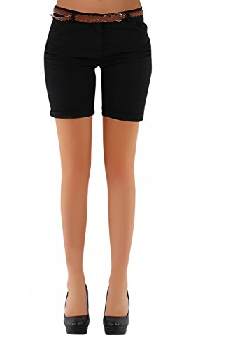 Danaest Damen Shorts, Chino Hosen inkl. div. Gürtel (279), Grösse:44 XXL;Farbe:Schwarz