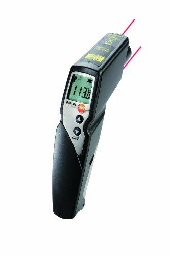 Testo 0563 8314 830-T4 Set, Infrarot-Thermometer mit Lederschutzhülle, inklusive Kreuzband-Oberflächenfühler (0602 0393), Batterien und Werkskalibrierschein