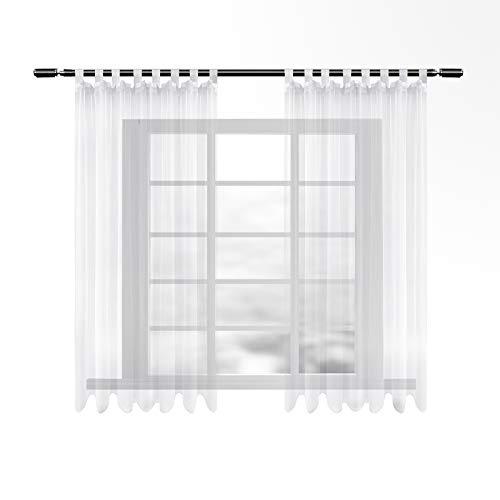 WOLTU VH5903ws-2, Gardinen transparent mit Schlaufen 2er Set kurz, Stores Vorhang Schal Voile Tüll Wohnzimmer Schlafzimmer Landhaus, Weiss 140x175 cm
