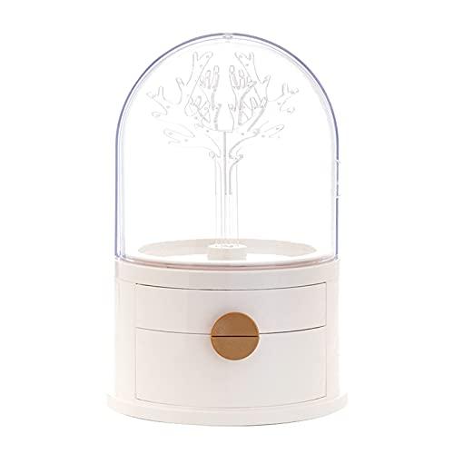 QIXIAOCYB Organizador de acrílico de joyería, caja de almacenamiento de joyas LED, organizador de joyas con 360 rack giratorio, cubierta de polvo Cajón grande ideal para almacenar anillos collares pen