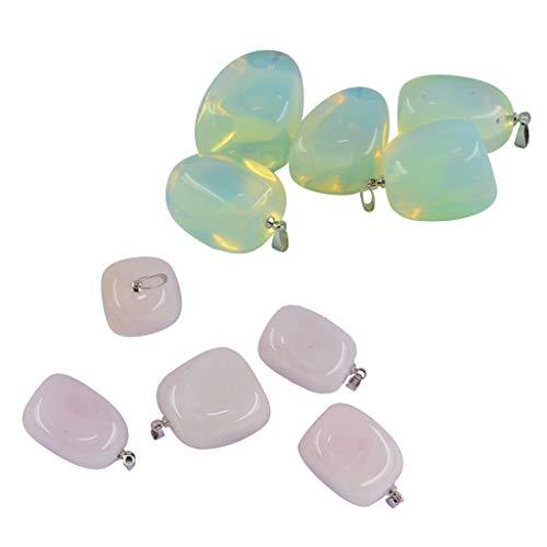 Sharplace 10 Set Collares Colgantes de Encantos de Piedra Natural para Mujeres Hombres, Collar de Cristal de Piedras Preciosas Fabricación de Joyas Encantos