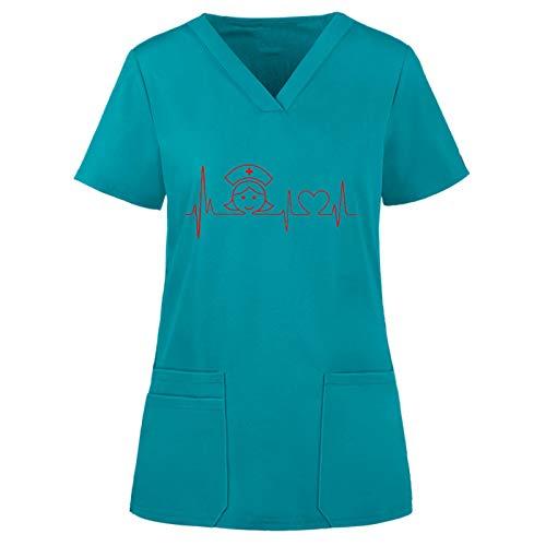 Eilecentyhzm Kasack Damen Uniform Frauen Cartoons Print Arbeitskleidung Krankenhaus Kurzkasack EKG Schlupfkasack Liebesmuster Schlupfhemd V-Ausschnitt Bluse Tops