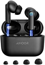 AIHOOR Wireless Earbuds for iOS & Android Phones, Bluetooth 5.0 in-Ear Headphones with Extra Bass, Built-in Mic, Touch Control, USB Charging Case, 30hr Battery Earphones, Waterproof for Sport (Black)