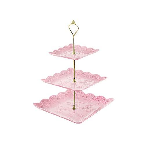 Mousyee Soporte para Cupcakes, Bandejas para Tartas Soporte para Cupcakes de 3 Niveles Extraíbles con Soportes de Exhibición Portátiles Golden Pillar para Postres de Fiesta y Boda (Rosado)