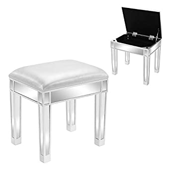 WDDH Mirrored Vanity Stool Silver Gray Makeup Dressing Stool with Storage Modern PU Leather Cushioned Chair Silver Finish Piano Seat for Bedroom Living Room