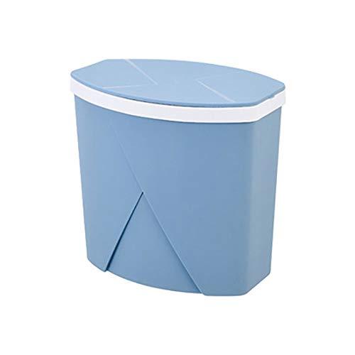 JMM Automatic Change Bag Trash can Living Room flip Trash can Household Bathroom Kitchen Covered Trash (Color : Blue)