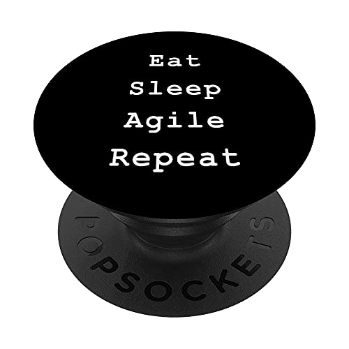 Eat Sleep Agile Scrum Project Management Funny PM Coach PopSockets PopGrip: Agarre intercambiable para Teléfonos y Tabletas