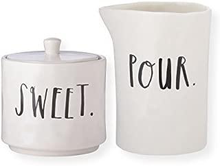 RAE DUNN Cream and Sugar Set - Stem Print Lettering