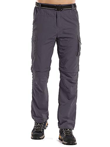 Men's Outdoor Anytime Quick Dry Convertible Lightweight Hiking Fishing Zip Off Cargo Work Pant M885 Gray,32