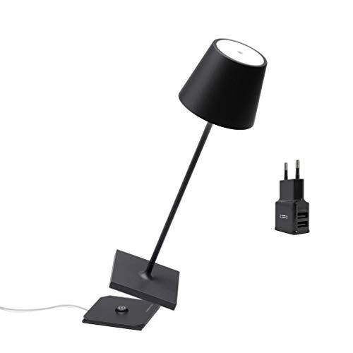 Zafferano Poldina Pro Black Limited Edition con Caricatore Aiino Dual USB per Ricarica Simultanea Lampada/Smartphone, LED Dimmerabile Touch, IP54, Base di Ricarica a Contatto, H38cm, Nero