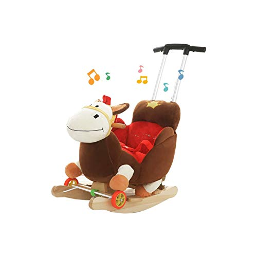Best Price FGH QPLKKMOI Plush Kids Ride on Rocking Horse Style Toy, Wood Kid Rocker Child Ride on To...