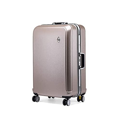 QIXIAOCYB Maleta portátil/marco de aluminio de 50,8 cm, juego de maletas, maletas, ruedas, ligero, viaje, con maleta, mano, código de mercancías: LWH-26 (color: negro) (color: dorado tirano)