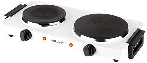 Korona 59040 Doppelkochplatte in weiß | Elektrische Kochplatte | 2500 Watt