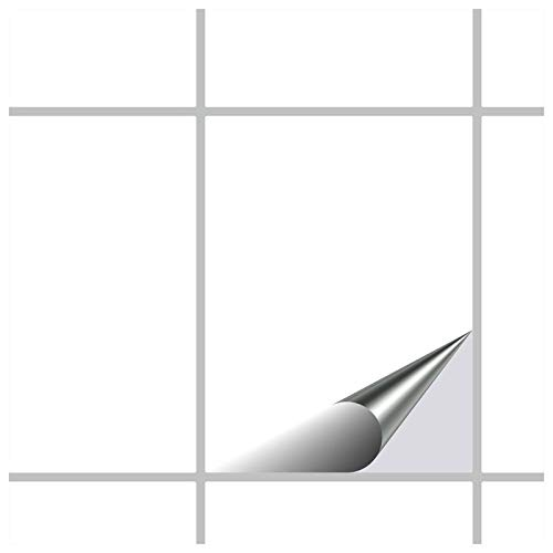 FoLIESEN Fliesenaufkleber für Bad und Küche - 15x20 cm - Weiss glänzend - 150 Fliesensticker für Wandfliesen