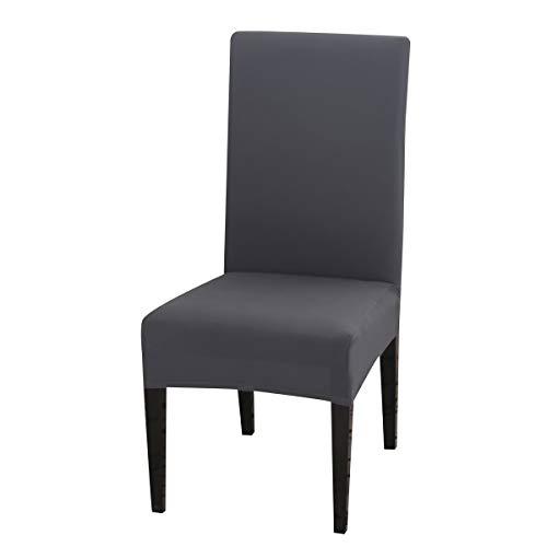 Padgene Universal Stretch Stuhlhussen, Abnehmbare Stuhlbezug Sitz Stuhl Esszimmer überzug Stuhlüberzu Abdeckungen Hussen für Husse Hotel Party Bankett (Grau, 4er Set)