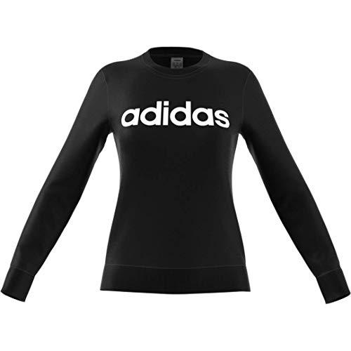 adidas Essentials Women's Linear Crewneck Sweatshirt, Black/White, Medium