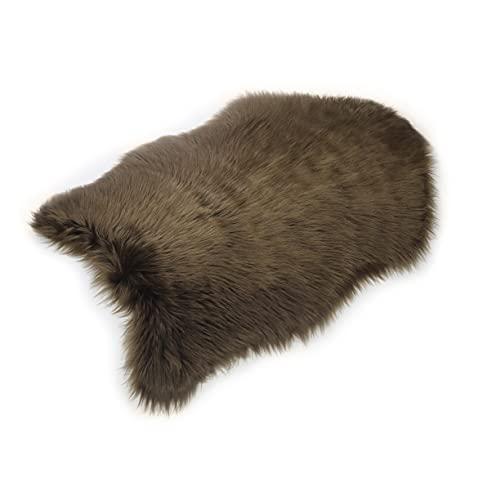Furryvalley Alfombra ecológica de piel de cordero sintética de imitación de piel de oveja para cama, sofá, salón, dormitorio, habitación infantil (59 x 89 cm), color marrón