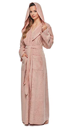 Arus Women's Princess Robe Ankle Long Hooded Silky Light Turkish Cotton Bathrobe Misty Rose Medium