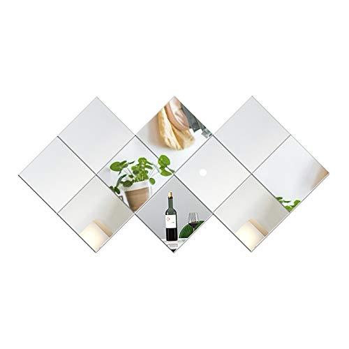 FANYUSHOW Azulejos de espejo de pared, 10 unidades, 22 x 22 cm, espejo de cristal HD, para cocina, baño, salón, armarios