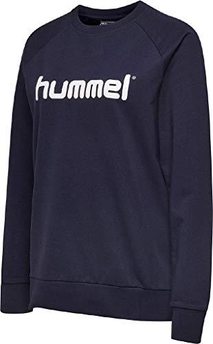 hummel Damen Pullover Go Cotton Logo Sweatshirt Woman 203519 Marine M