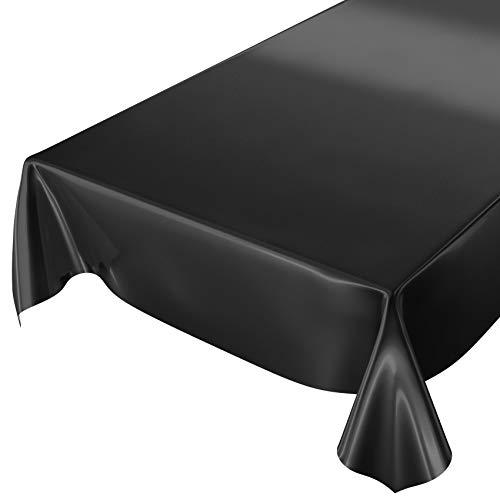 ANRO Wachstuchtischdecke Wachstuch abwaschbare Tischdecke Uni Glanz Einfarbig Schwarz 160x140cm
