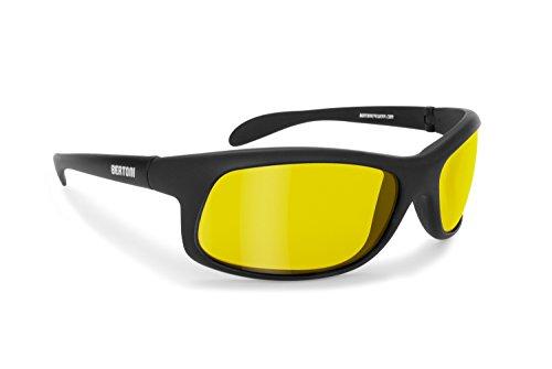 Bertoni Occhiali Polarizzati Guida Notturna Auto Moto Ciclismo con Lente Polarizzata Gialla Antiriflesso Antivento Avvolgenti - P545D Nero Opaco