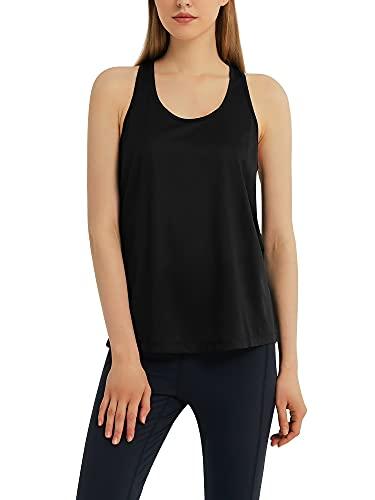 Woolicity Tank Top Donna Canotta Sportiva Running delle Donne Vest Yoga Wear Senza Maniche Nero XL