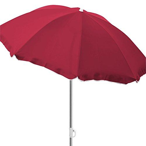 INDa-Exclusiv Ø180cm Sonnenschirm Strand Schirm Sonnenschutz Gartenschirm Strandschirm knickbar Polyester rot mit Volant
