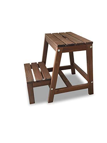 Marchepied en bois de hêtre avec 2 Niveaux, pliable, marron, B38 x T54 x H45 cm