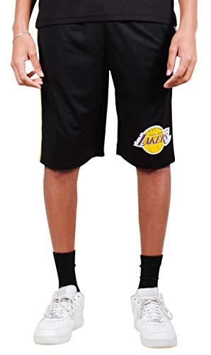 Ultra Game NBA Los Angeles Lakers Mens Mesh Basketball Shorts, Black, X-Large