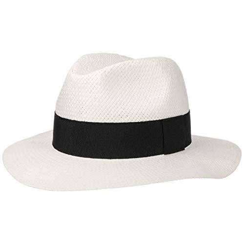 Lipodo White Traveller Strohhut weiß Damen und Herren - Größe S 54-55 cm - Sonnenhut für den Urlaub - weißer Herrenhut aus Stroh mit Ripsband - Hut Frühling/Sommer