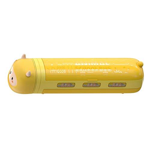 KTZAJO Caja de papelería amarillo pequeño lápiz caso con aspiradora niños lápiz caja de dibujos animados escuela papelería