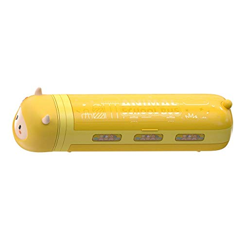 Kit de accesorios Papelería Caja Amarillo Pequeño Estuche de Lápiz con Aspiradora Niños Caja de Lápices de Dibujos Animados Escuela Pap