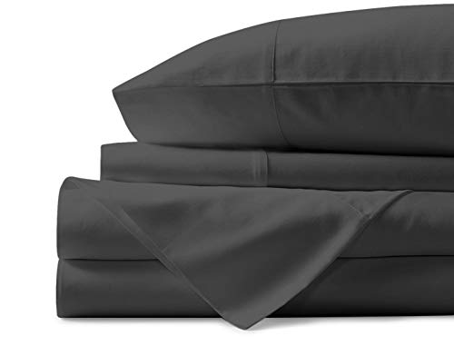 Mayfair Linen 100% Egyptian Cotton Sheets, Dark Grey Queen Sheets Set, 800 Thread Count Long Staple Cotton, Sateen Weave for Soft and Silky Feel, Fits Mattress Upto 18