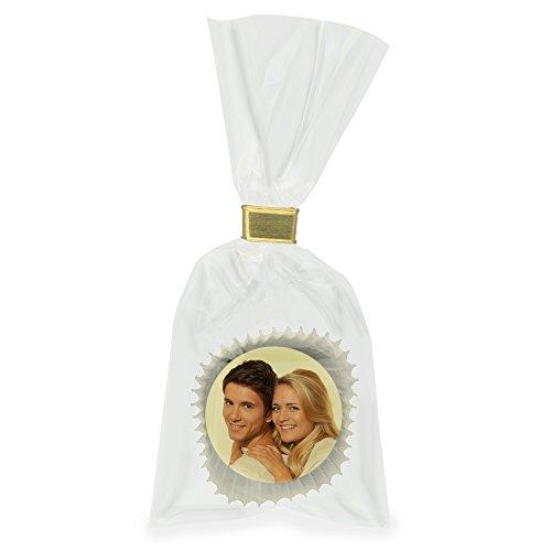 Runde-Praline mit Ihrem persönlichen Foto oder Logo in der Klarsichttüte mit Goldclip verschlossen (Passionsfrucht in der weißen Schale, 10)